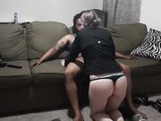 Interracial couple lazy evening sex on the couch
